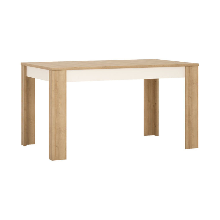 Axton Woodlawn Medium Extending Dining Table 140/180 cm In Riviera Oak/White High Gloss