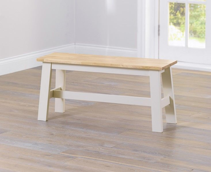 Mark Harris Chichester Solid Hardwood & Painted Small Bench - Oak & Cream