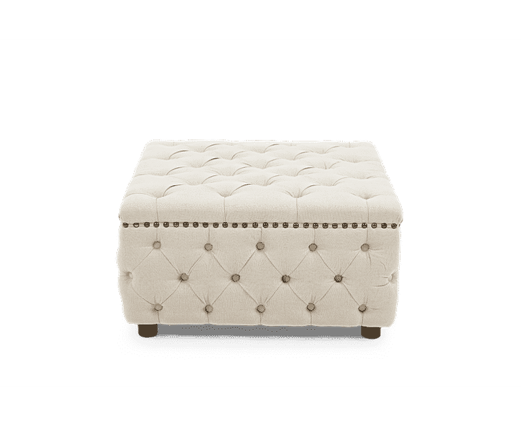 Mark Harris Fiona Cream Linen Square Footstool
