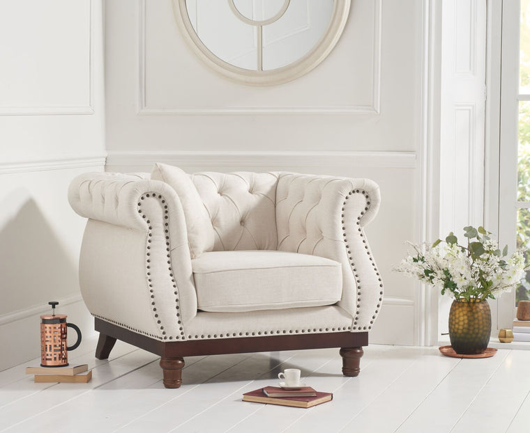 Mark Harris Highgrove Ivory Linen Armchair