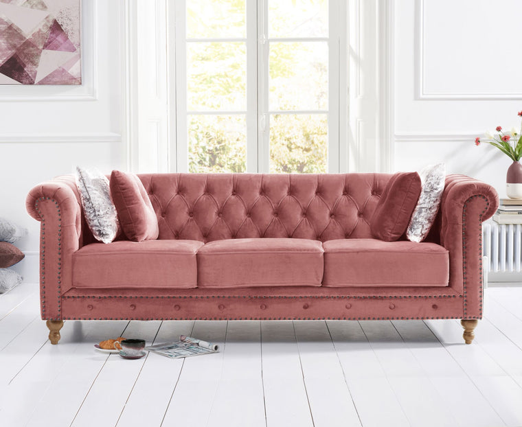 Mark Harris Montrose Blush Plush 3 Seater Sofa
