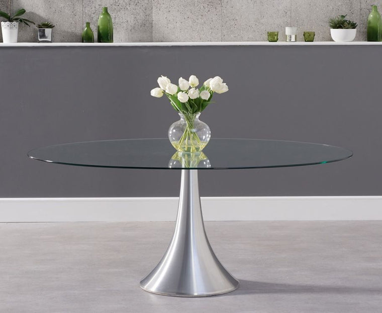 Mark Harris Pria 180cm Oval Glass Dining Table