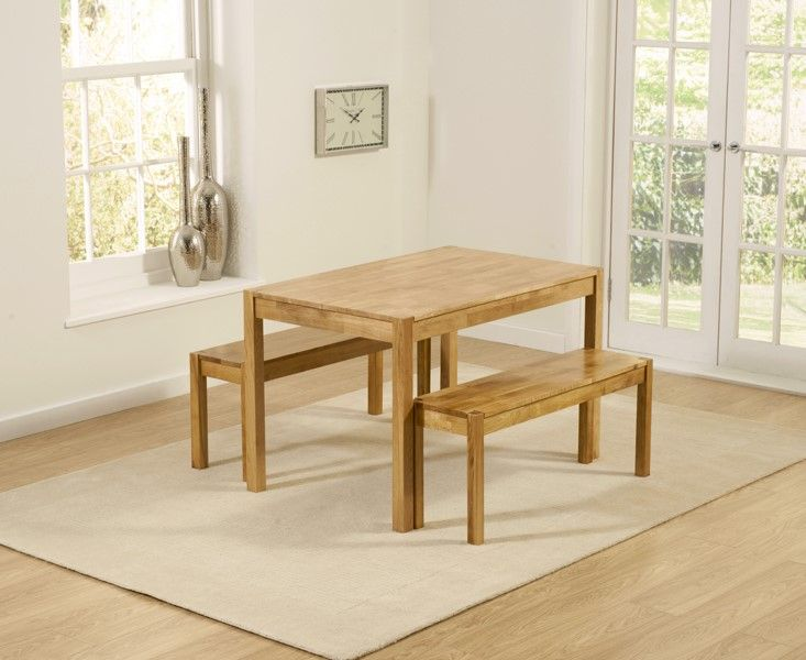 Mark Harris Promo Solid Oak 120cm Dining Table With 2 Medium Benches