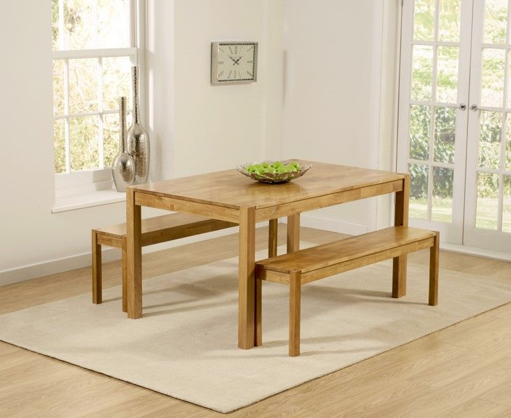 Mark Harris Promo Solid Oak 150cm Dining Table With 2 Large Benches