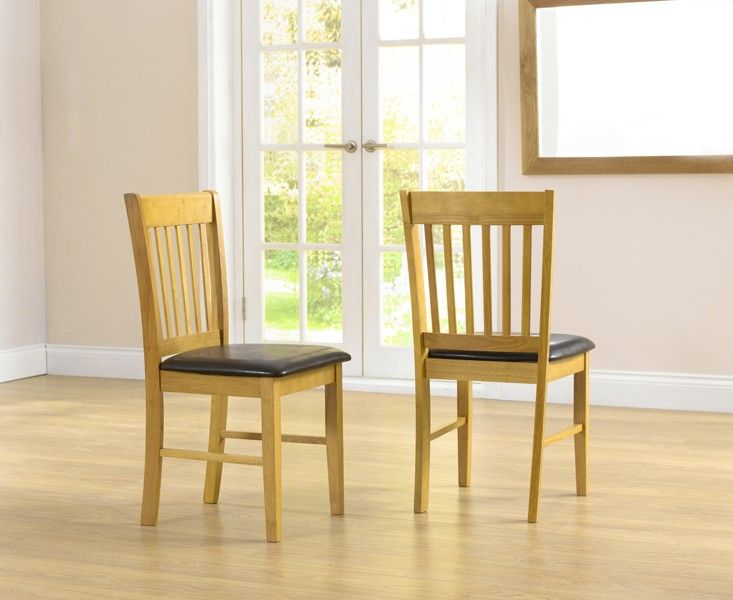 Mark Harris Alaska Solid Hardwood Dining Chairs With Brown Pu Seat (Pairs)