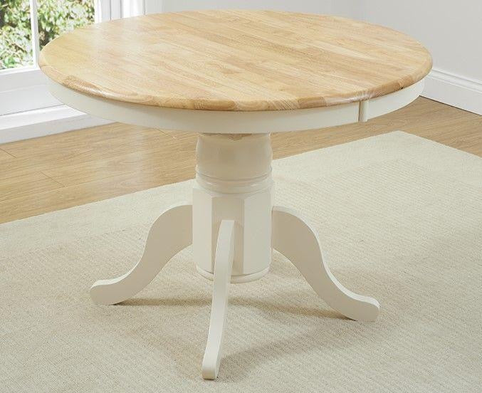 Elstree Solid Oak 100cm Extending Dining Table (Oak & Cream)