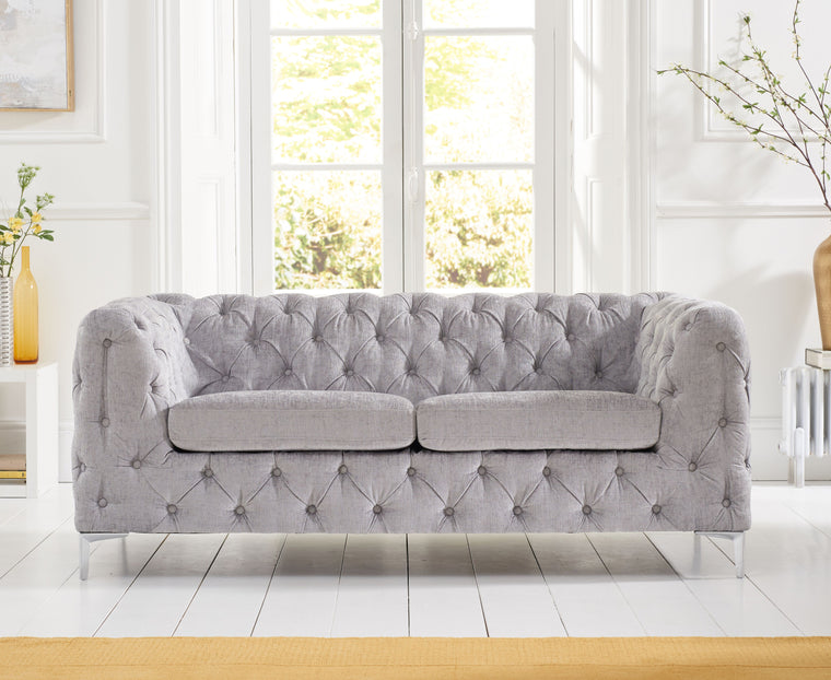Alegra Grey Plush 2 Seater Sofa