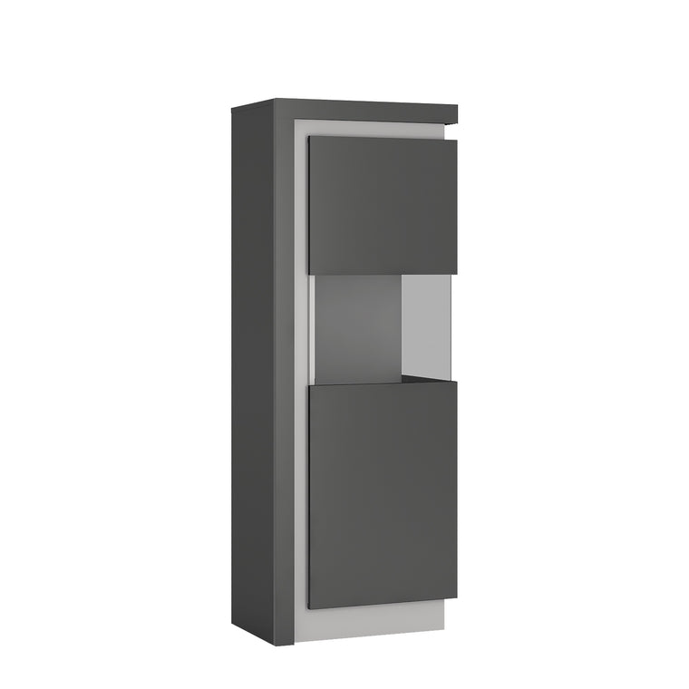Axton Woodlawn Narrow Display Cabinet (RHD) 164.1cm High In Platinum/Light Grey Gloss