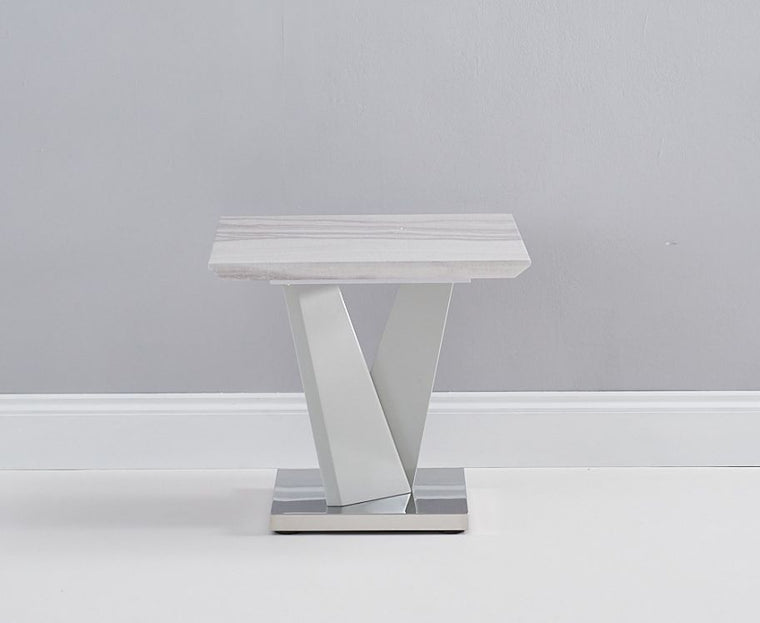 Mark Harris Rosario High Gloss Light Grey Lamp Table