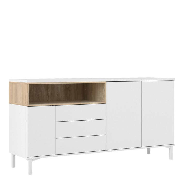 Axton Blauzes Sideboard 3 Drawers 3 Doors In White and Oak