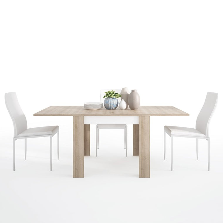 Axton Woodlawn Medium Extending Dining Table 140/180 cm + 4 Milan High Back Chair White.