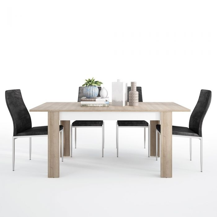 Axton Woodlawn Medium extending dining table 140/180 cm + 6 Milan High Back Chair Black