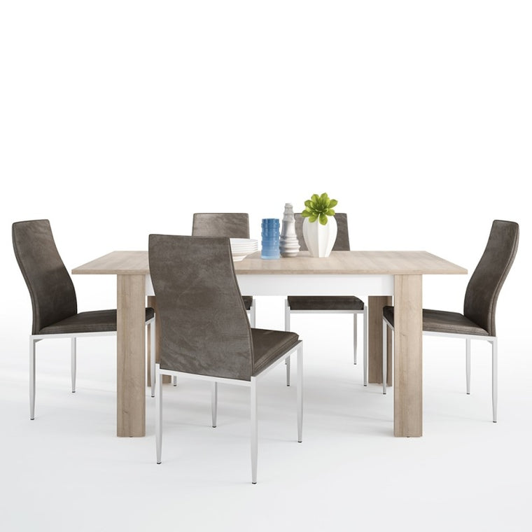 Axton Woodlawn Medium Extending Dining Table 140/180 cm + 6 Milan High Back Chair Dark Brown