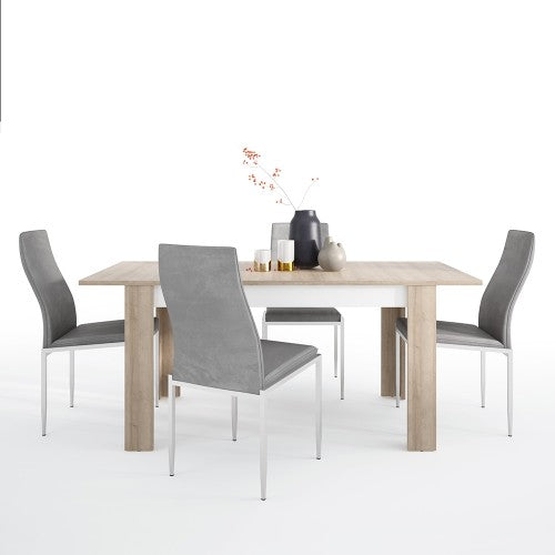 Axton Woodlawn Medium Extending Dining Table 140/180 cm + 4 Milan High Back Chair Grey