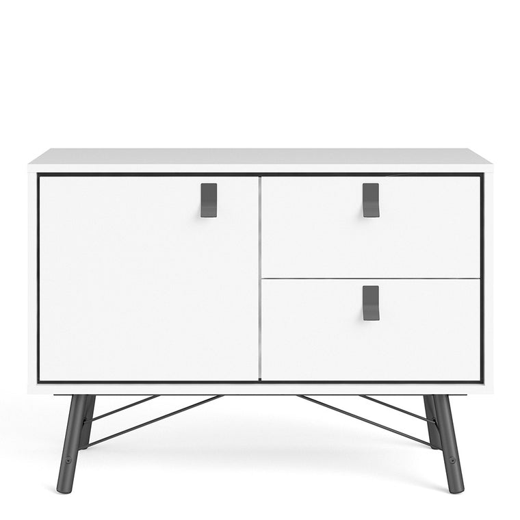 Axton Longwood Sideboard With 1 Door + 2 Drawers In Matt White