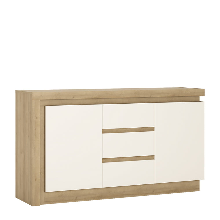 Axton Woodlawn 2 Door 3 Drawer Sideboard In Riviera Oak/White High Gloss