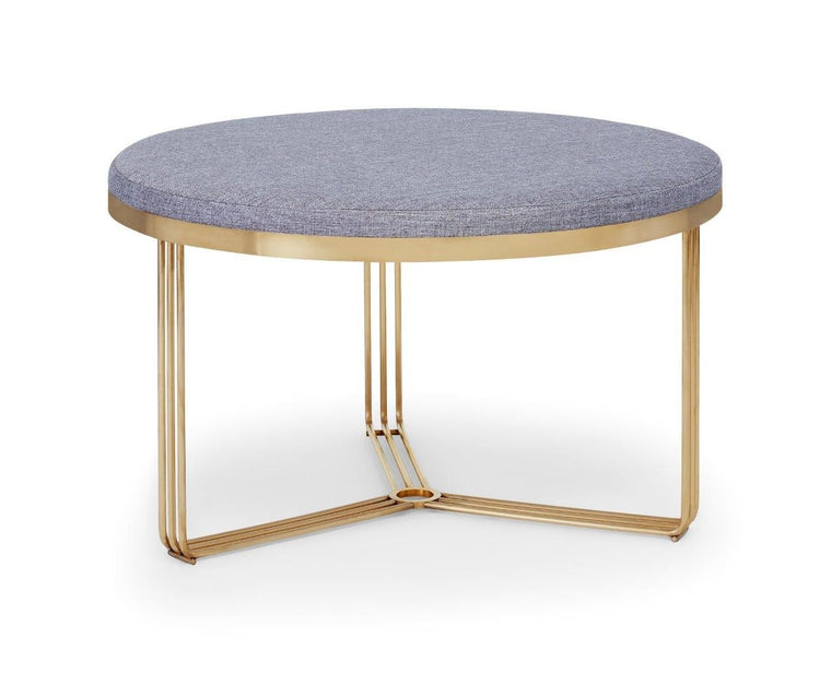 Gillmore Space Finn Small Circular Coffee Table Or Footstool Pewter Grey Upholstered & Brass Frame