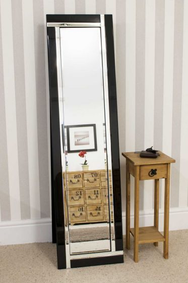 Carrington Black All Glass Cheval Mirror 150 x 40 CM