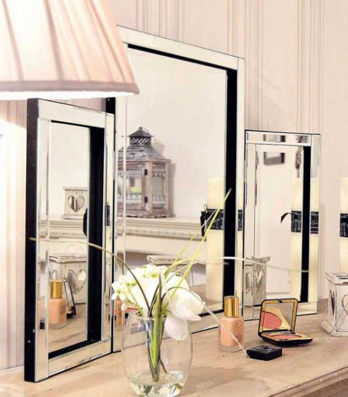 Carrington Silver All Glass Dressing Table Mirror 56 x 76 CM