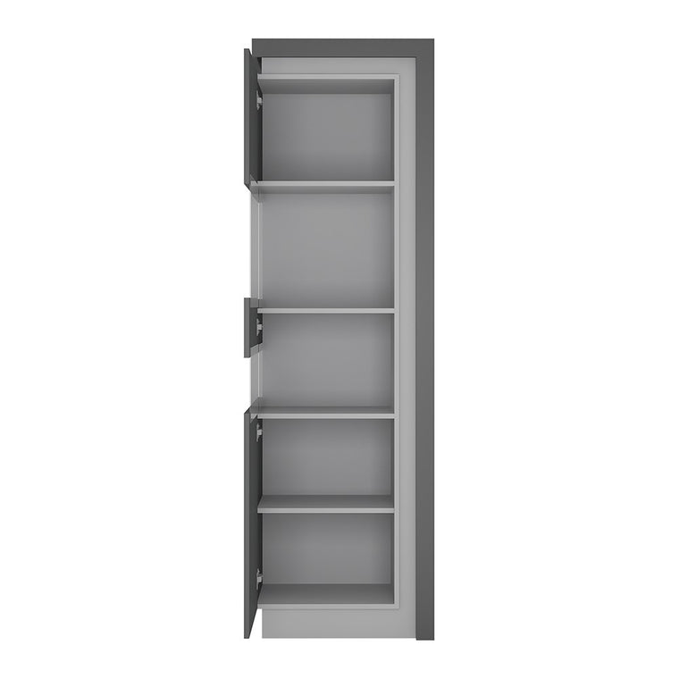 Axton Woodlawn Tall Narrow Display Cabinet (LHD) In Platinum/Light Grey Gloss