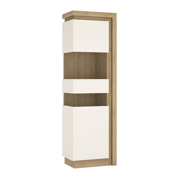 Axton Woodlawn Tall Narrow Display Cabinet (RHD) In Riviera Oak/White High Gloss