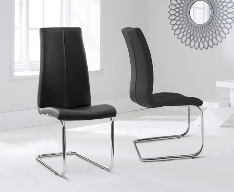 Mark Harris Tonia Hooped Leg Pu Black Dining Chairs (Pair)