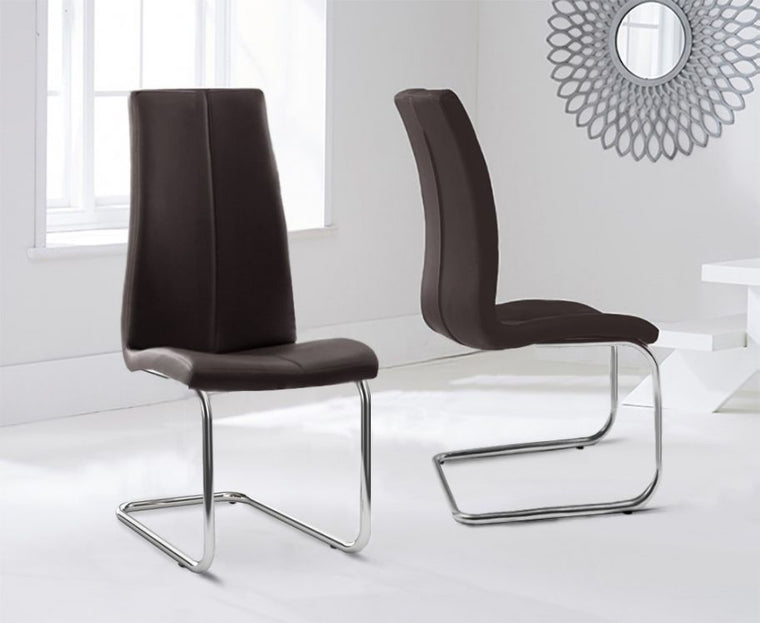 Mark Harris Tonia Hooped Leg Pu Brown Dining Chairs (Pair)