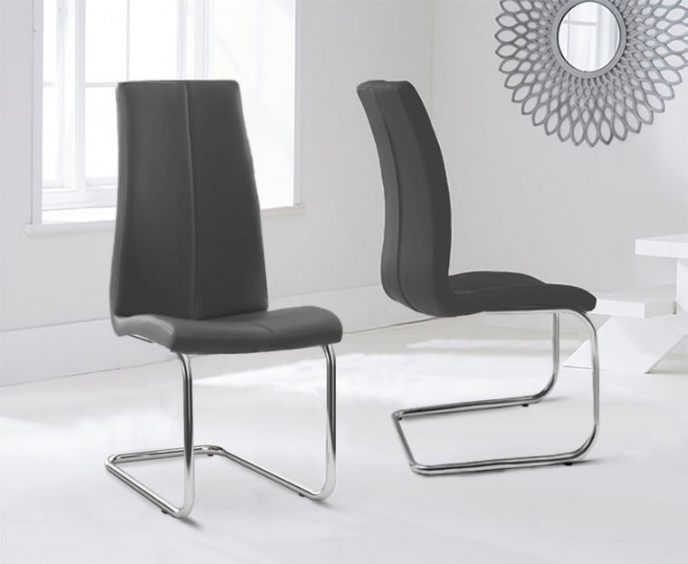 Mark Harris Tonia Hooped Leg Pu Grey Dining Chairs (Pair)