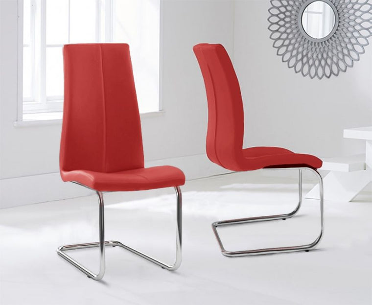 Mark Harris Tonia Hooped Leg Pu Red Dining Chairs (Pair)
