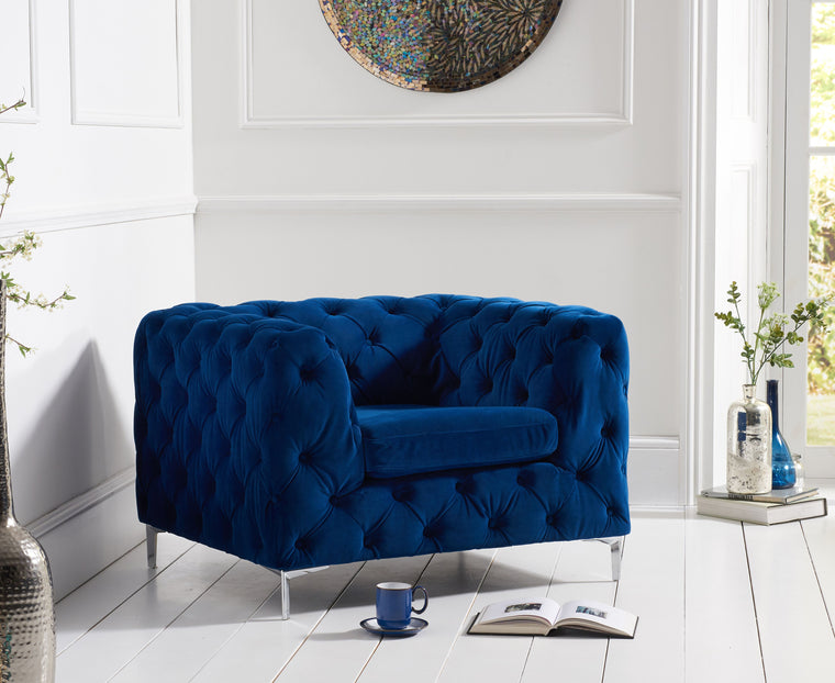 Mark Harris Alegra Blue Plush Chair