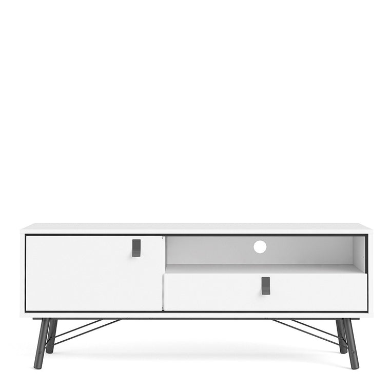 Axton Longwood TV-Unit 1 Door + 1 Drawer In Matt White