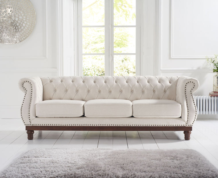 Mark Harris Highgrove Ivory Linen 3 Seater Sofa