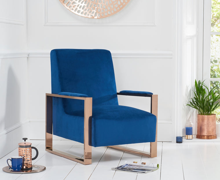 Mark Harris Erica Blue Velvet Accent Chair