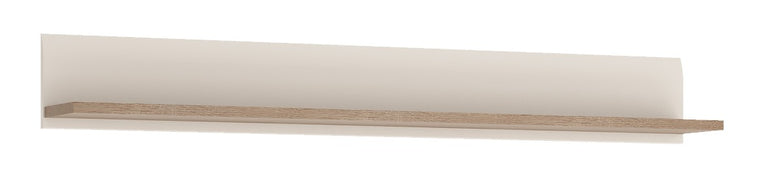 Axton Norwood Living Wall Shelf In White With A Truffle Oak Trim