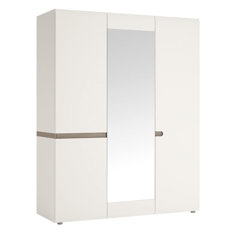 Axton Norwood Bedroom 3 Door Robe With Mirror In White With A Truffle Oak Trim