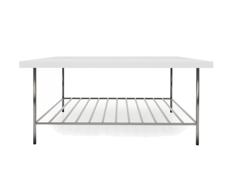 Gillmore Space Alberto Square Coffee Table White With Dark Chrome Accent