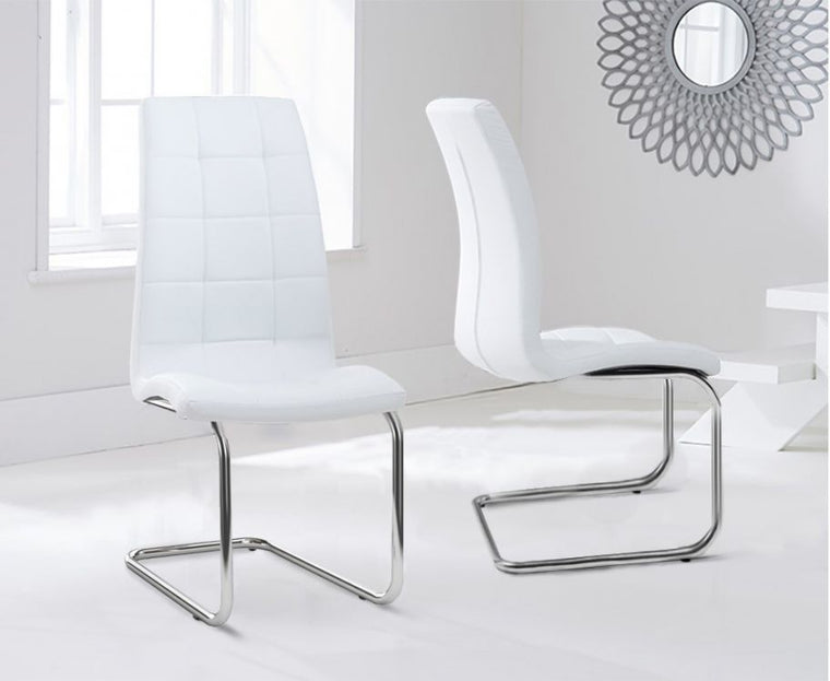 Mark Harris Lucy Hoop Leg Pu White Dining Chairs (Pair)