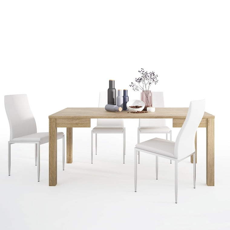Axton Kingsbridge Extending Dining Table + 4 Milan High Back Chair White