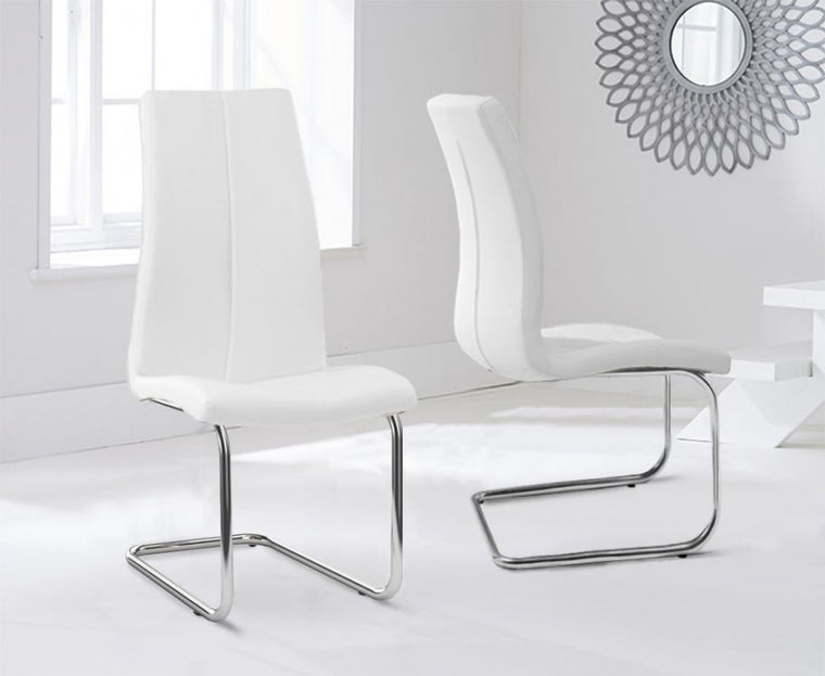 Mark Harris Tonia Hooped Leg Pu White Dining Chairs (Pair)