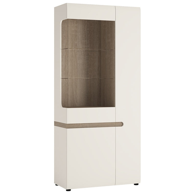 Axton Norwood Living Tall Glazed Wide Display Unit (RHD) In White With A Truffle Oak Trim