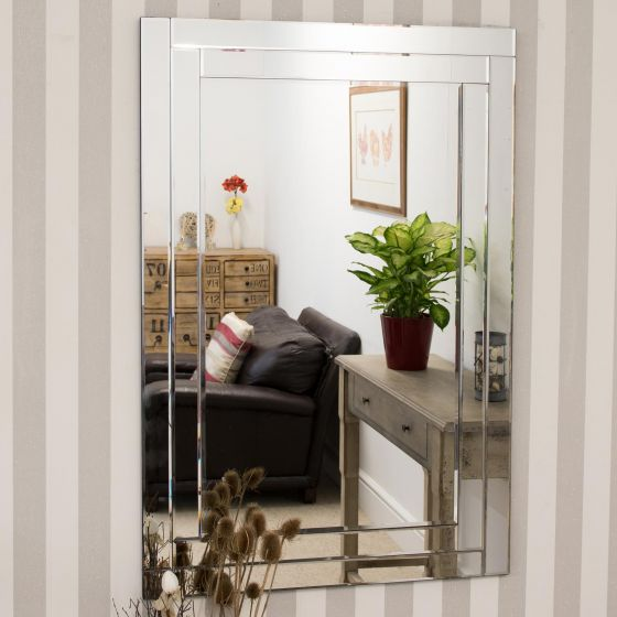 Carrington All Glass Bevelled Large Dress Mirror 120 x 80 CM