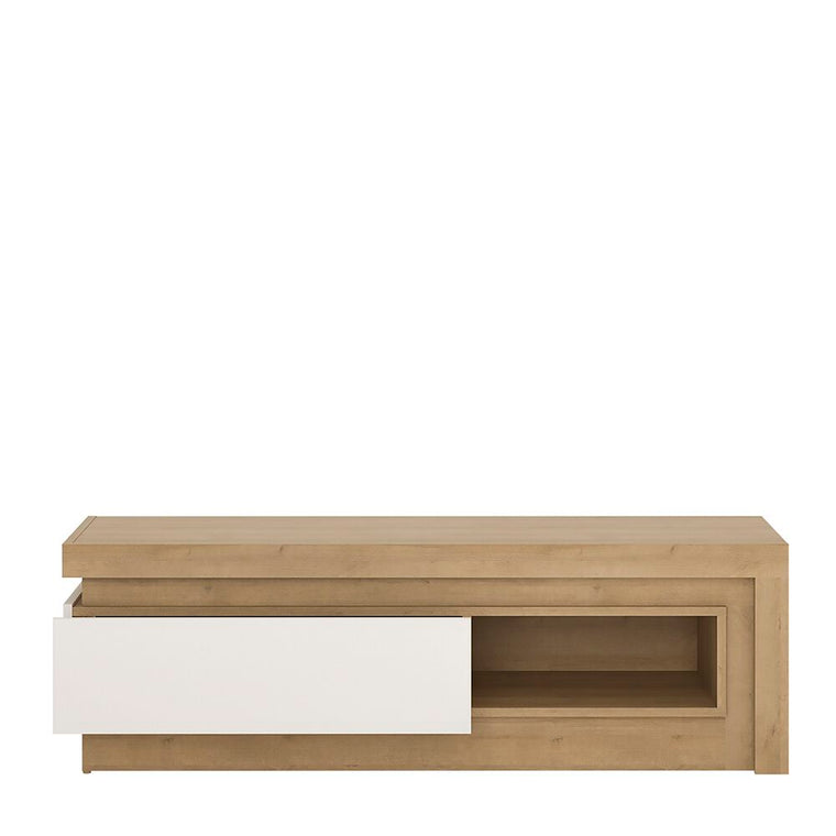 Axton Woodlawn 1 Drawer TV Cabinet With Open Shelf (including LED lighting) In Riviera Oak/White High Gloss