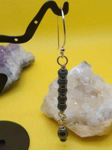 Iolite and Hematite Earrings
