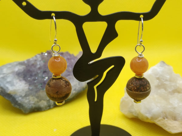 Aventurine and Agate Earrings