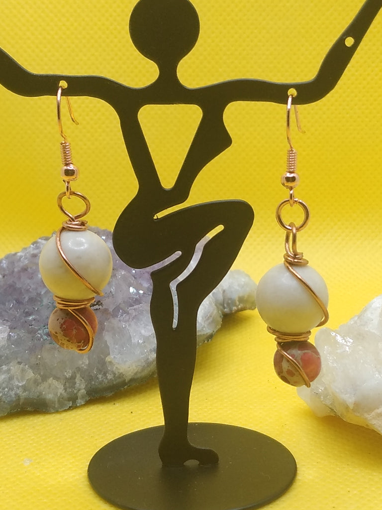 Riverstone and Red Imperial Jasper Earrings