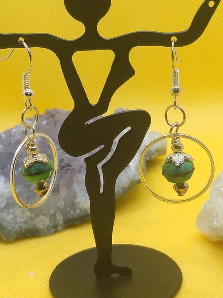 Green Tiger Eye Earrings