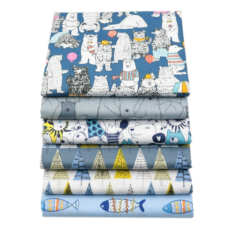 Blue Cartoon Series 100 Cotton Fat Quarter Bundle 6 Pieces Quilters Bay