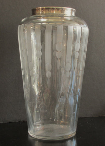Hawkes Crystal Vase Wheel Cut Art Deco w/Optic 9-1/4 in. Tall