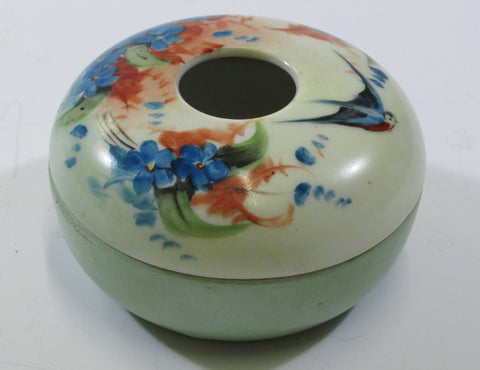Porcelain Hair Receiver HP Bluebird and Flowers C. 1914