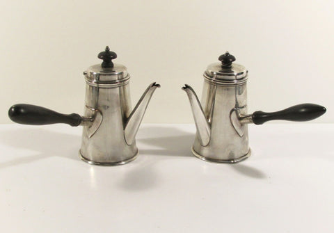 Pair Silver Plate Cafe Au Lait Servers Six Inches Tall C. 1910